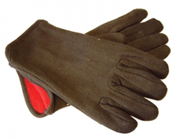 Brown Jersey Glove w/Fleece Lining - Size L