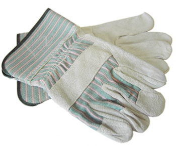 Leather Palm Green Striped Glove - Size L