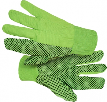 High-Vis Glove w/Black PVC Dotted Double Palm