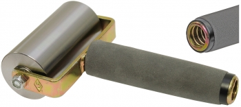 "2""x4"" Steel Seam Roller w/Threaded Steel Foam Grip Handle"